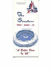 1962 Washington Senators Media Guide Nats Second Season!!