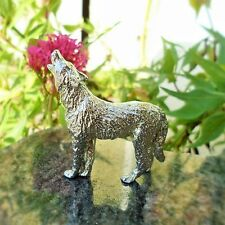 Polished Pewter Wolf Ornament.  92% Tin Content; ideal 10th Anniversary Gift
