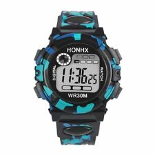 CHILDREN'S KIDS CAMOUFLAGE MULTI FUNCTION ELECTRONIC  SPORT SILICONE WRIST WATCH
