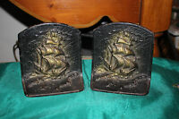 Antique Nautical Cast Iron Book Ends Pair Sailing Ships Vessels Boats