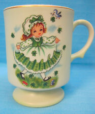 Lefton Irish Girl Cup Mug 8200 Shamrock St Patrick's Day March Clover Green