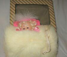 Little Girl White Fur Muff with Sleepy Eye Doll Head in Original Box
