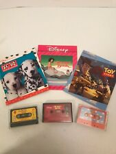 Disney Read Along Book w/ Cassette Lot Toy Story, The Jungle Book,101 Dalmatians
