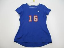 NIKE PRO Jersey Women's Size L OREGON JUNIORS VOLELYBALL #16 Blue V-Neck