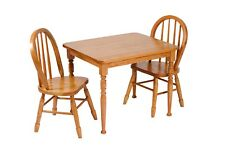Amish Furniture - Heirloom Child's Square Oak Table and Chairs Set - Made in USA
