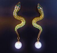 Snake earrings shades of green rhinestone pearl long drop dangle stud posts