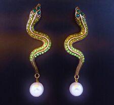 Snake earrings shades of green rhinestone pearl long drop dangle stud gift box