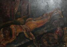 Vintage expressionist nude portrait oil painting
