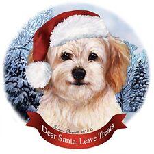 Holiday Pet Gifts Cavachon Santa Hat Dog Porcelain Christmas Tree Ornament