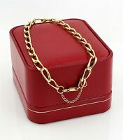 """Estate Unisex 14k Yellow Gold 5mm Link, Curb Chain Bracelet 8.5"""" & Safety"""