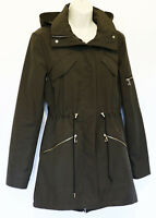 Vince Camuto Womens Drawstring Hooded Coat S Small Olive Water Resistant Jacket