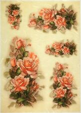 Rice Paper -Painted Roses- for Decoupage Decopatch Scrapbook