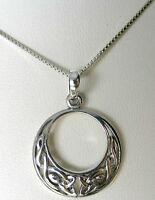 Handmade 925 Sterling Silver Celtic Moon Pendant sold WITHOUT a Chain Necklace