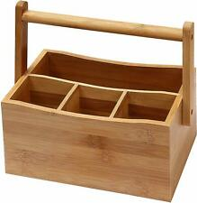 Bamboo Flatware Wooden Caddy Silverware Caddy Backyard BBQ Utensil Caddy Eco