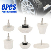 6pc Car Polisher Polishing Wheel Buffing Buffer Polish Pads Mop Wheel Drill Kit