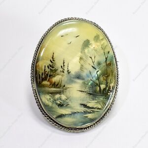 RUSSIAN FEDOSKINO BROOCH MOTHER OF PEARL METAL HAND PAINTED LANDSCAPE MINIATURE