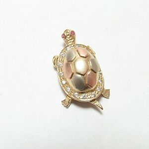 Estate 14K Yellow, Rose, White Gold Syn Cubic Zirconia Movable Turtle Pendant