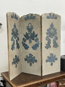 Antique french 19th century hand painted three panel canvas screen