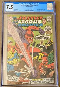 JUSTICE LEAGUE OF AMERICA #64 CGC 7.5 OW Origin & 1st SA Red Tornado! (1968) DC
