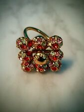 Louis Vuitton Ring, Goldtone, Beautiful Crystals, Size 8