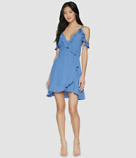$395 Lucy Love Womens Blue V-Neck Ruffle Cold-Shoulder High-Low Zip Wrap Dress S