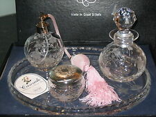 STUART CRYSTAL CASCADE FUCHSIA PATTERN DRESSING TRAY 4 PIECE SET SIGNED EX.CON