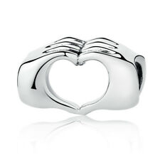 STERLING SILVER CLOSED LOVE HAND HEART BEADS CHARMS