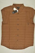 NEW MEN'S Quiksilver Seajam Stripe Short Sleeve Shirt Brown sz L $52 #96-71411