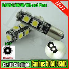 1 X 9-Led Park Light Xenon White Car Bulb Error Free Canbus 433 H6W Bax9S 5050