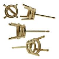 14k Yellow Gold Round Stud Earring Mounting Setting Push Back Post 4 Prong