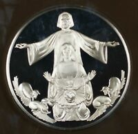 1980 The Holy Family .925 Sterling Silver Proof Franklin Mint Holiday Medal