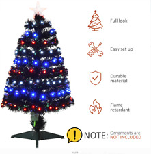 "2"" Pre-Lit Artifiical Christmas Tree Fiber Optic w/Multicolor LED Lights & Stand"