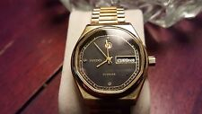Swiss Rado Voyager Gold Plated, Automatic, Black Dial, Mens Wrist Watch