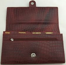 Pure Leather Ladies Travel Organiser Passport Ticket Currency Holder Brown Color