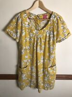 Womens Joules Meredith Woven Tunic Dress Yellow Linen Cotton Floral Size 12 UK