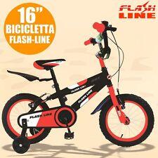 """Bici Bicicletta 16"""" Bimbo Bambino FLASH Line Colore Arancione Fluo Nero Offerta"""