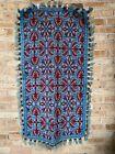 """Vintage Rug 25""""x 49"""" Blue Red Woven Tapestry Fringe Tassles"""