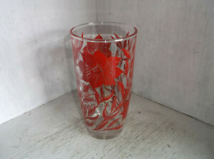 Red Flowers Leaves 1 Pint Drinking Glass Tumbler 16 oz