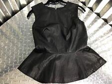 Rue 21 Vegan Leather Women's Black Peplum Vest with Center Zipper Size S