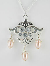 """Antiqued Silver Finished Pewter Necklace w/ Peach Pearl Teardrops 20"""" SP Figaro"""