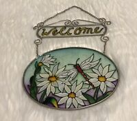 """VTG Stained Glass Welcome & Daisies with a Dragonfly Window Hanging 8"""" dia Sign!"""