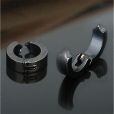 2X Men Women Stainless Steel Cuff Hoop Fake Clip On Earring Ear Stud No Piercing