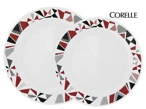 Corelle MOSAIC RED Choose: DINNER or LUNCH PLATE *Scarlet Black Gray Geometric
