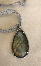 Gorgeous Pear Labradorite set in  Sterling Silver 925 Necklace Chan Luu