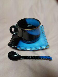 Glazed Blue & Black Ceramic 4 oz. Coffee Cup W/ Spoon And Plate