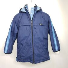 Nike Womens Reversible Jacket Size Large Medium Blue Windbreaker Fleece Zip Snap
