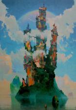 VYTAUTAS LAISONAS ORIGINAL Cloudy Day Surrealist Castle in the Sky  OIL PAINTING