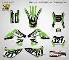 MX Graphics Stickers Kit Decals Kawasaki KDX 200 1995-2006 KDX 220 1997-2005