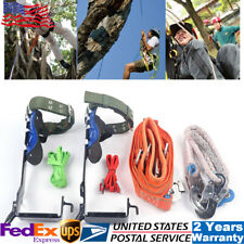Treepole Climbing Spike Set Safety Belt Rope Safety Lanyard With Carabiner 2 Gear