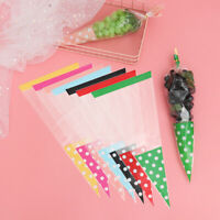 Cellophane Plastic Candy Bag Seal Cone Pouch Transparent Package Snack Pocket
